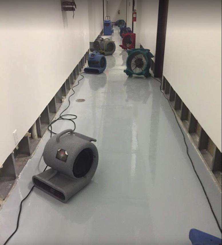 water damaged hallway in Austin